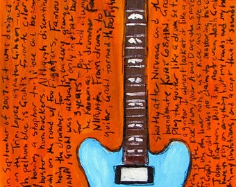 Dave Grohl Art. Gibson DG 335 electric guitar art print. Foo Fighters. Nirvana. Guitar Art. 11x17