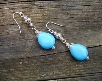 Turquoise earring, turquoise earrings, long earrings, turquoise jewelry, teardrop earrings, blue turquoise earrings, blue turquoise earring