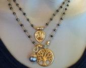Celestial Goddess Sun/Moon Pendant on Pyrite Rosary