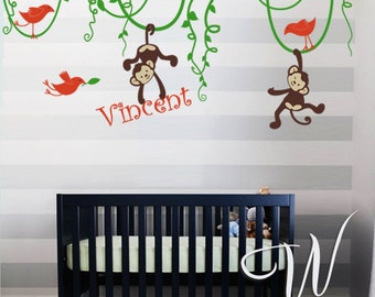 Jungle Monkeys and Birds - Nursery, Kids Wall Decal