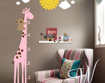 Giraffe Growth Chart with Koala - Wall Decal