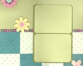 Premade Scrapbook Page Green and Blue, 12x12