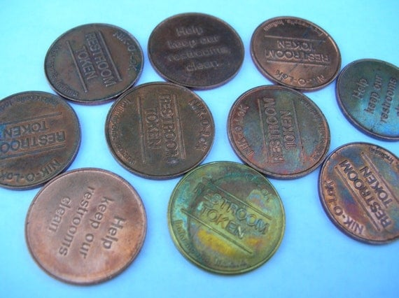 Vintage restroom tokens, coins  tokens for repurpose crafts art mosiacs altered art assemblage