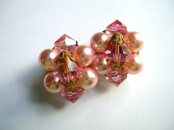 Vintage pink crystal and faux pearl shabby chic cluster earrings , clip on earrings , cluster beads
