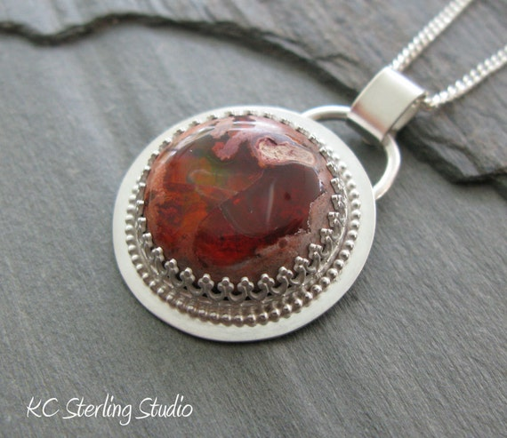 Mexican fire opal and sterling silver handsmithed necklace