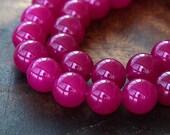 Dyed Jade Beads, Magenta Semi-transparent, 8mm Round - 15 inch strand - eSJR-M27-8