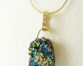 Titanium Quartz druzy crystal blue green gold pendant