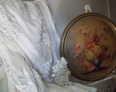 Reserved for Laura Vintage Shabby Chic Cottage  Antique Oatmeal Lace and Cotton  Bedspread