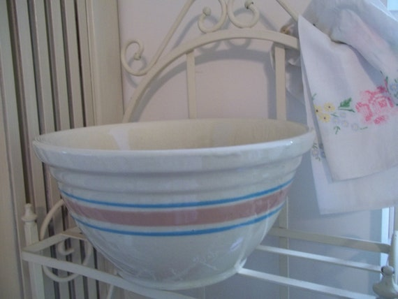 Vintage Pink and Blue and White  Kitchen Bowl Oven Ware 12  baking