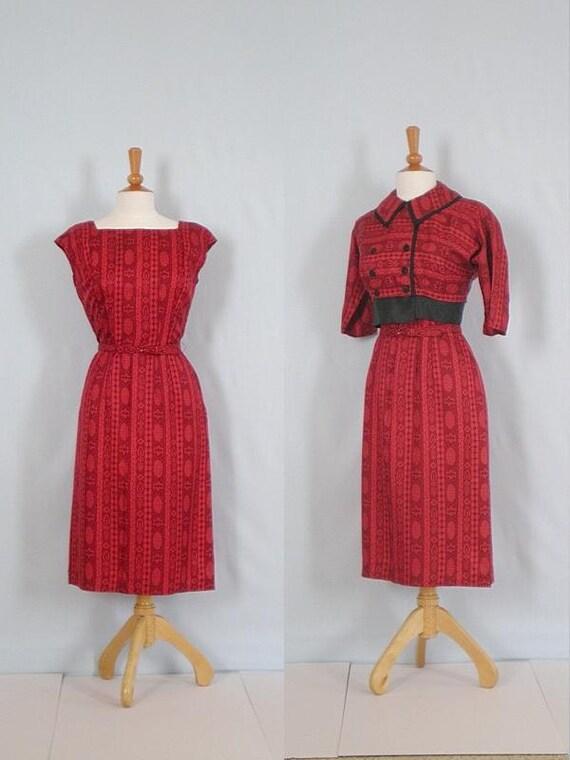 Vintage 50s Red Suit Set //  Dress & Jacket