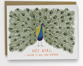Hey, Girl Peacock Birthday Card Funny Birthday Card by Emily McDowell 138-C