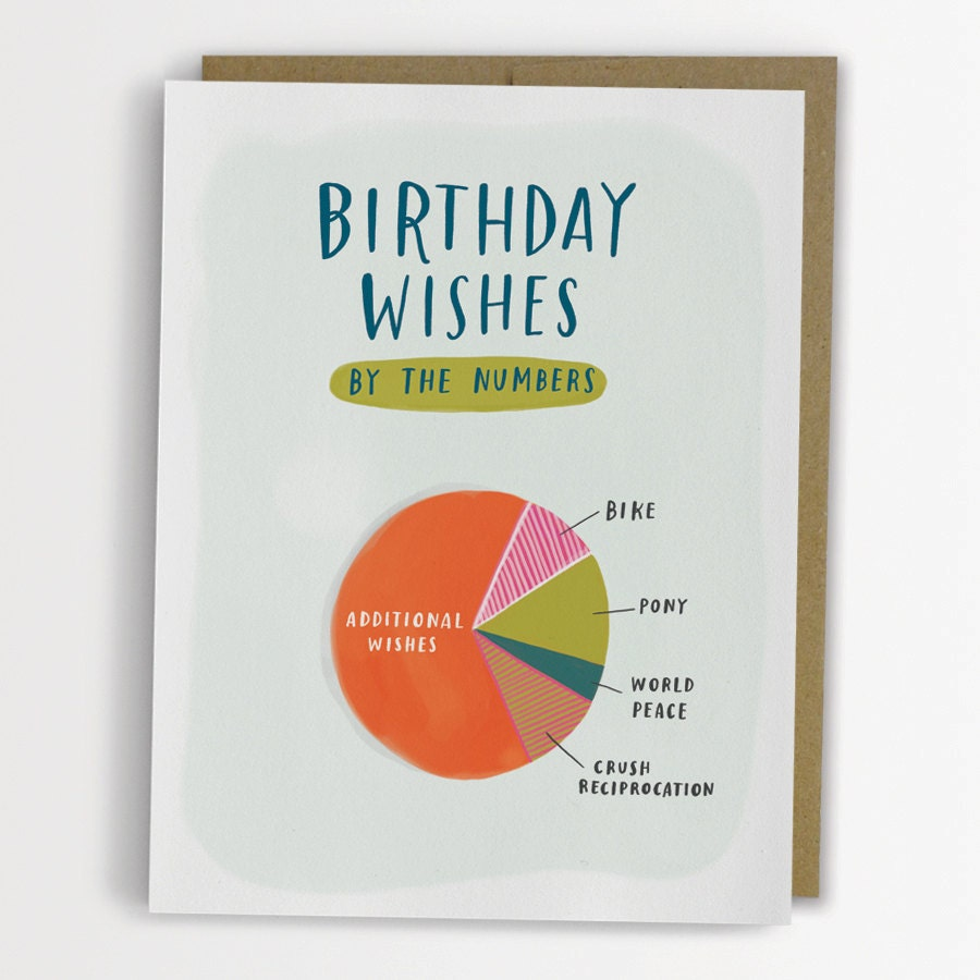 Funny Birthday Cards: Birthday Wishes Pie Chart Card Funny Birthday Card / No