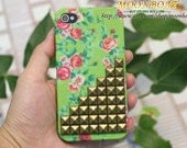 Flower Rose Green Hard With Antique Brass Pyramid Stud Case for Apple iPhone 4 ,iPhone 4s,iPhone 4 Hard Case,iPhone Case MB591