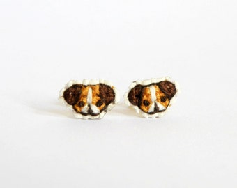Puppy cross stitch earrings, CUSTOM made, brown dog, gifts for dog lovers, Made to Order