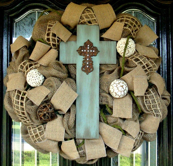 Burlap Cross Door Wreath
