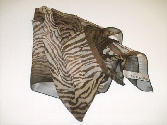 Vintage Anne Klein Tiger Print in Brown and Tan Sheer Silk Scarf