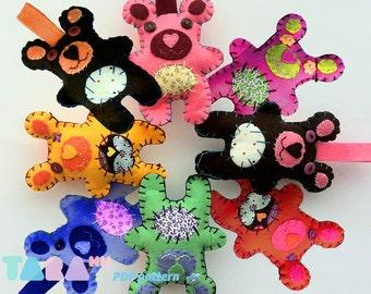DIY Felt Pattern Bear with Patches, Fabric Bear, TaraBear,Toy DIY PDF Sewing Pattern, Pdf Instant Download, Animal Tutorial