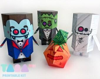 DIY Paper Toys Monsters, Set of 4 Printable Monsters, TaraMonsters, DIY Paper Toy, Art Toy, Vampire, Frankenstein, Pumpkin, Mummy, Halloween