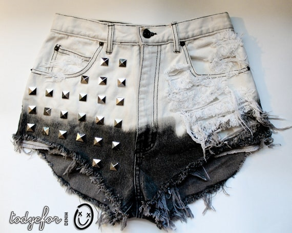 bleached white and black ombre / Jordache vintage denim / pyramid studs & destroyed / high waisted shorts