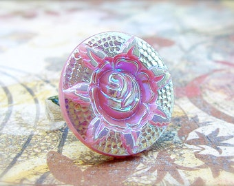 Rose - adjustable Vintage Czech glass button ring