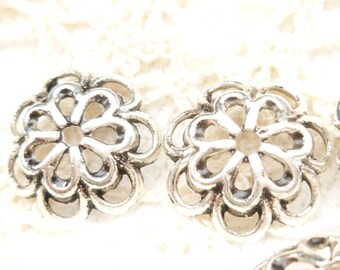 14mm Antiqued Silver Flower Bead Cap (10) - SF4