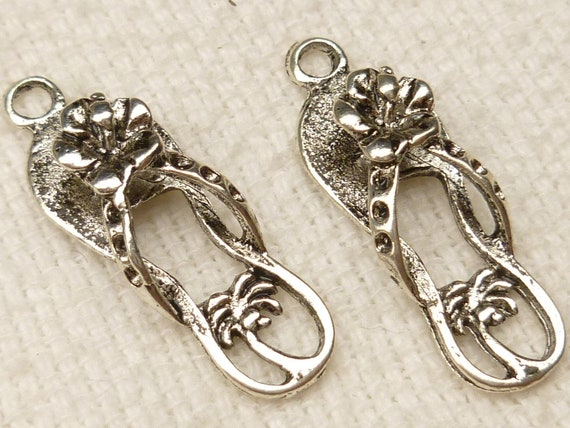 Tropical Flower and Palm Tree Flip Flop Beach Sandals Charms, Antique Silver (4) - S28