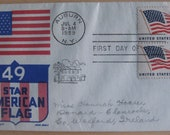 Vintage First Day Cover Issue 1959 49th STAR AMERICAN FLAG Stamped Envelope