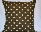 Brown Ikat Dot decorative pillow designer pillow accent pillow 18x18 inches cushion cover