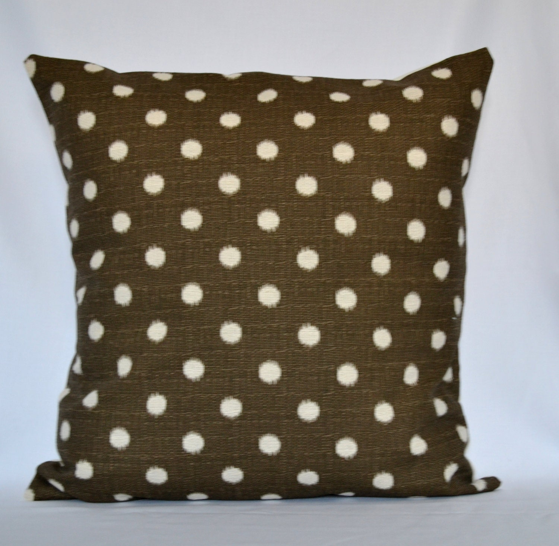 Brown Ikat Dot decorative pillow designer pillow accent pillow