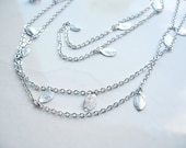 Leaves, Long Station Necklace, Silver, Rhodium Plated, 43 inches