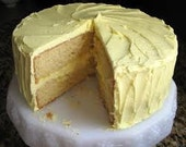 Lemon Cream Pound Cake(Butter Cream Icing)  2 Layer 6 inch Round,Wedding favors, Cookie PLatters, Party Platters, Cookie Baskets Gifts