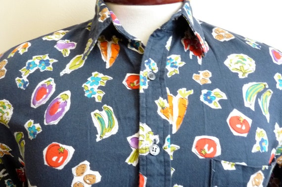 reserved for osarumen vintage 90's paul smith printed long sleeved shirt with vegetables and flowers, colorful and eccentric , size medium