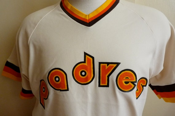 70's San Diego Padres v-neck baseball jersey with stripe trim in yellow, brown and orange