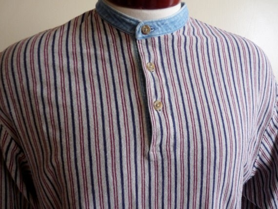90's vintage Land's End chambray band collar rugby style men's heather grey long sleeved shirt verical blue and burgundy purple stripes