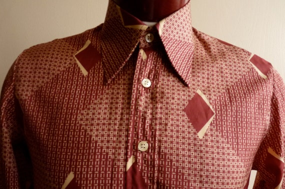 vintage 70's Pascal men's/unisex disco big high collar long sleeve button up shirt, abstract geometric squares diamond/burgundy/light brown/