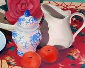 Flowers and Fruit still life. Fine art print of original oil painting