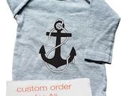 Custom order for Ali -  screenprint onesie with anchor design