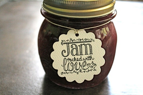 Personalized wedding favor tags, canning tags, 50. Jam Packed with Love design, with name and date. Perfect for jam jar favors.