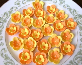 GUM PASTE BLOSSOMS / Two Tone  Yellow and Orange Medium Size / Cake Topper and Cupcake Flower Decorations