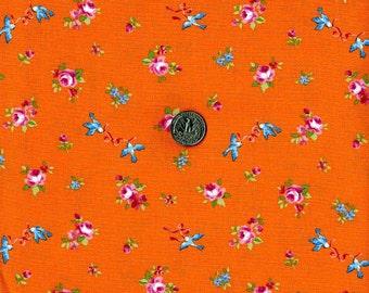 Rose and Birds Print Japanese Fabric Orange - 110cm x 50cm