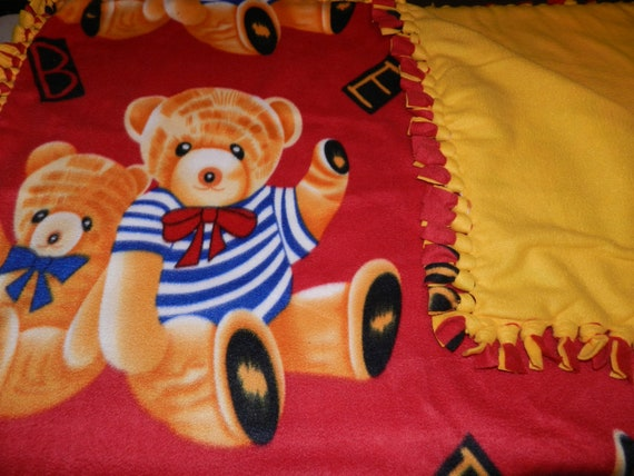 Teddy Bears Red Fleece blanket, No Sew Fleece Ties Blanket