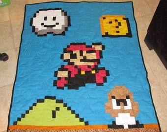 Mario Baby Quilt with Goomba