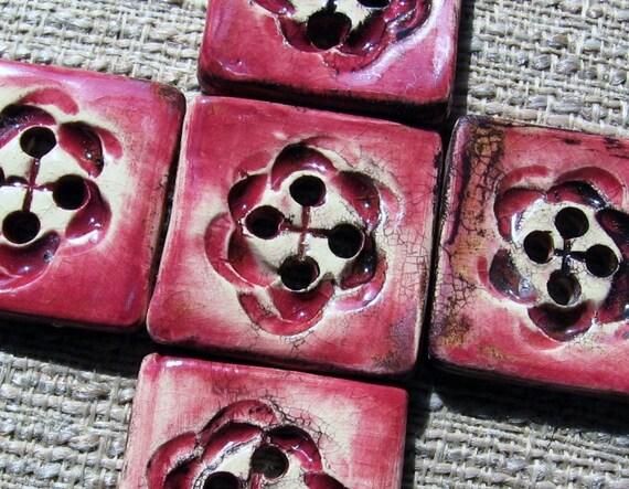 Miss Havisham's Handmade Ceramic Buttons - Set of 5  Distressed Rose Buttons
