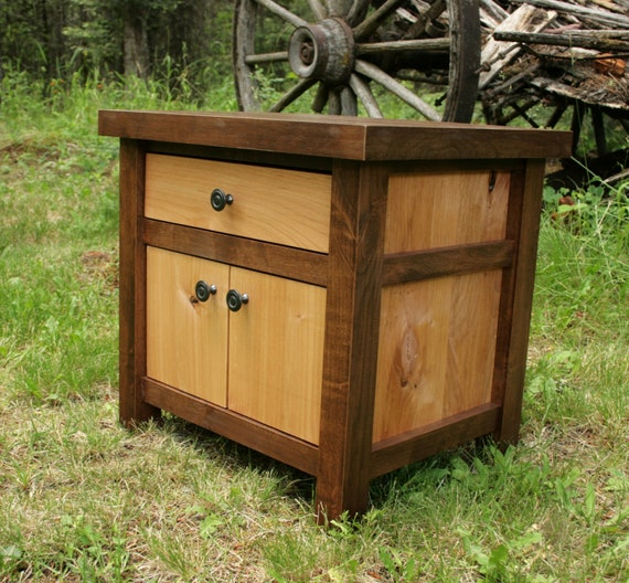 Modern rustic nightstand by echopeakdesign on etsy for Tall rustic nightstands