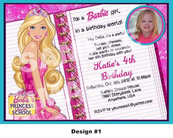 Items similar to Barbie Princess Charm School invitation ...