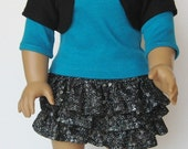 Sequined Top, 3 Tiered Skirt and Shrug for 18 inch Doll