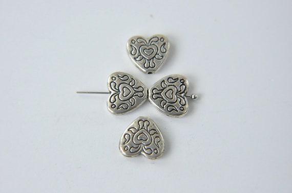 heart metal beads 4 pcs  jewelry making materials,