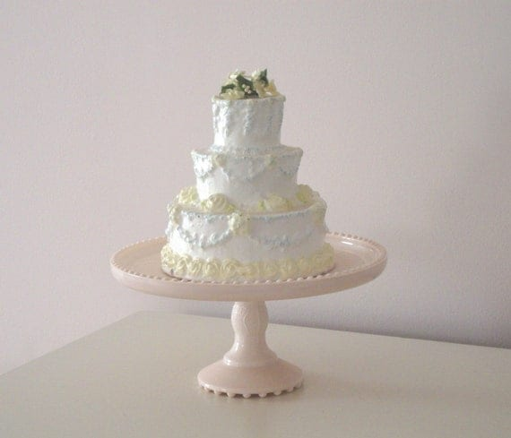 WEDDING CAKE CANDLE - Roses - Floral - 7 1/2 inches high
