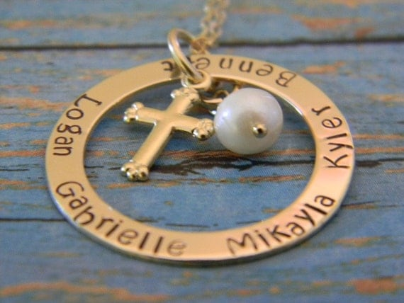 Mommy Necklace, Mom, Grandma, Nana 14kt Gold Fill Personalized Custom Made Hand Stamped Name Necklace on Washer with Cross and Pearl