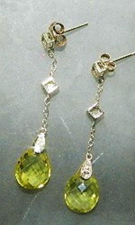 Estate 10kt  White Gold Diamond Citrine Drop Earrings